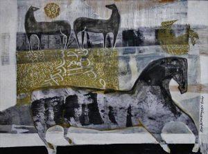 الخيول العربية تتجمل بلوحات تشكيلية في سوق واقف للفنون