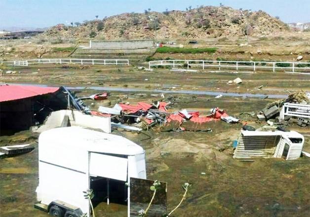 الأمطار تتسبب بأضرار جسيمة لأحد مرابط الخيل العربية في المملكة