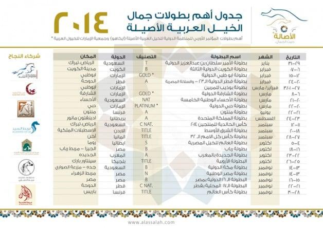 جدول أهم بطولات جمال الخيل العربية الأصيلة لموسم 2014 م