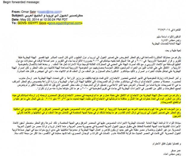 """""""الاصالة"""" تتحصل على وثائق تثبت عدم الجدية في التعامل مع ملف حظر تصدير الخيول من مصر"""