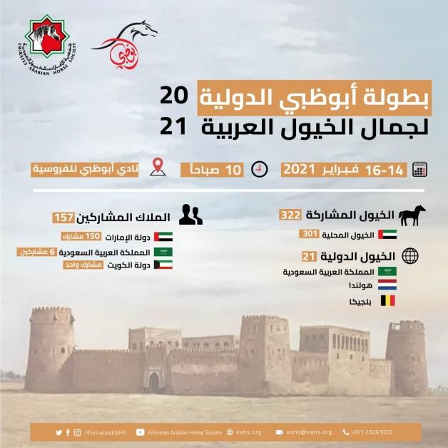 بطولة أبوظبي الدولية لجمال الخيل العربية 2021 تنطلق غدا الاحد بمشاركة 325 خيلاً – برنامج البطولة